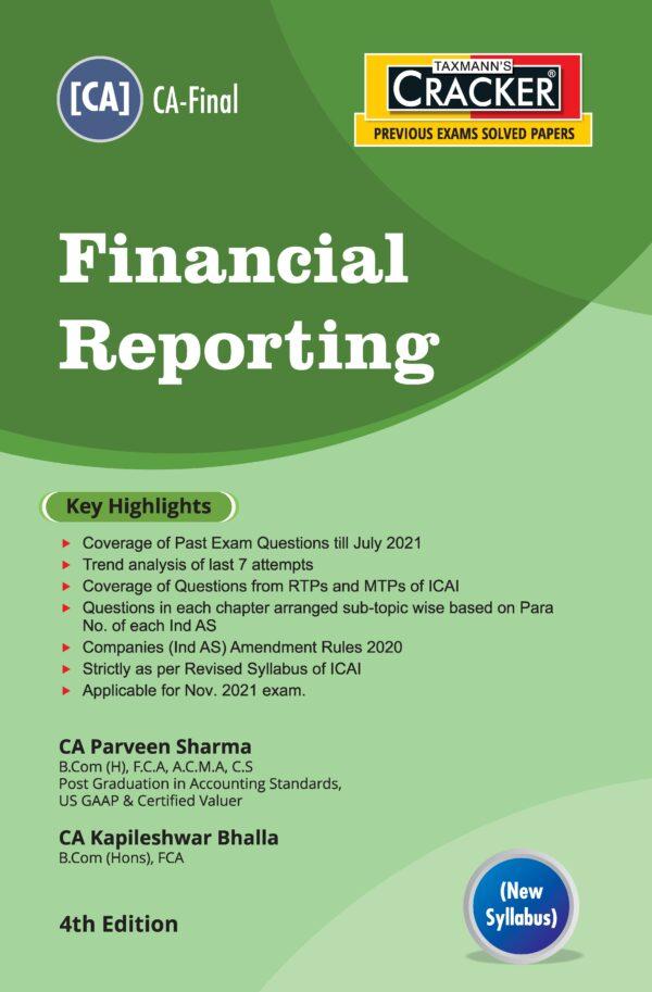 Taxmann CA Final Cracker Financial Reporting New By Parveen Sharma