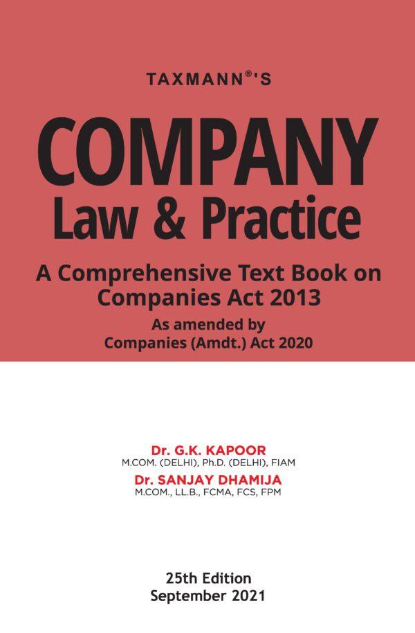 Company Law Practice G K Kapoor Sanjay Dhamija