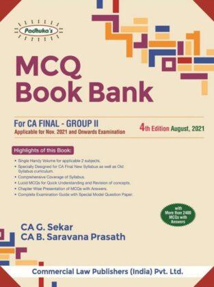 Commercial Padhuka CA Final MCQ Book G Sekar B Sarvana Prasath