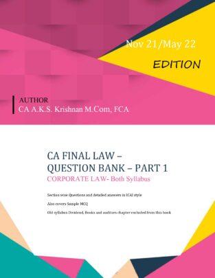 Corporate Economic Allied Laws Question Bank CA AKS Krishnan