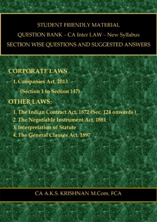 CA Inter Corporate and other Laws Question Bank CA AKS Krishnan