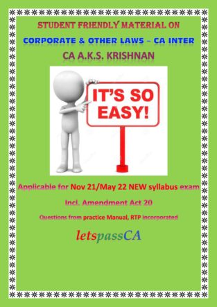 CA Inter Corporate and other Laws Concept Book By CA AKS Krishnan