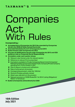 Taxmann Companies Act with Rules Edition July 2021